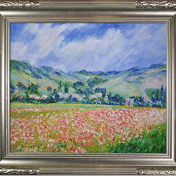 """overstockArt.com - Monet - Poppy Field near Giverny Oil Painting - 20"""" x 24"""" Oil Painting On Canvas Hand painted oil reproduction of a famous Monet painting, Poppy Field near Giverny. The original masterpiece was created in 1885. Today it has been carefully recreated detail-by-detail, color-by-color to near perfection. While Monet successfully captured life's reality in many of his works, his aim was to analyze the ever-changing nature of color and light. Known as the classic Impressionist, one can not help but have deep admiration for his talent. This work of art has the same emotions and beauty as the original. Why not grace your home with this reproduced masterpiece? It is sure to bring many admirers!"""