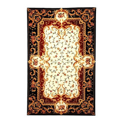 Safavieh - Ivory and Black Victorian Style Rug (2 ft. 3 in. x 12 ft. Runner) - Size: 2 ft. 3 in. x 12 ft. Runner. Hand Tufted. Made of Wool. Exquisite traditional rugs inspired by classic beauty and current enough for everyday decors. Dramatic and elegant with a Victorian inspired floral pattern, this luxurious wool area rug will be an appealing addition to any decor. The rug is finished in black and ivory with gold tone accents and is hand tufted for added value.