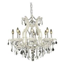Elegant Lighting - Elegant Lighting 2800D26WH/RC Maria Theresa Collection Hanging Fixture - Elegant Lighting 2800D26WH/RC Maria Theresa Collection Hanging Fixture