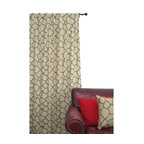 ez living home - EZ Living Home Giraffe Window Panel 84L Khaki on Brown - *Eye-catching yet subtle giraffe pattern; EZ to decorate with; Complements existing room decoration.
