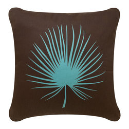 Wabisabi Green - Frond Eco Pillow, Chocolate/Aqua, Without Insert - Simple as a sunprint against its contrasting dark background, this pillow's hand-printed palm frond has a natural, minimal elegance. Earthy and contemporary in trendy brown and aqua, this pillow makes a delicate home accent. It's also organic and ecofriendly for a gentle environmental footprint.
