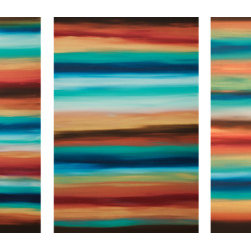 Sunrise 10 (Original) by Hilary Winfield - Sunrise 10 is an original, modern art painting from the Sunrise Series. This one-of-a-kind painting was created with acrylic paint on gallery-wrapped canvas. It has a width of 72 inches and a height of 36 inches with a depth of 1 inch (72x36x1). There are three, individual 24x36x1 inch canvases. The edges are painted black creating a finished look so the canvas does not require a frame.