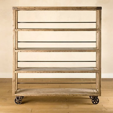 Salvaged Wood and Steel Shelving -