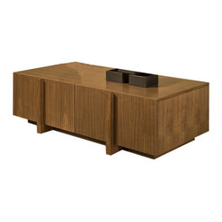 "Tucker Furniture - Max Coffee Table - Bold, vertical handles make for easy, one-handed opening of the drawers of this large, user-friendly coffee table. Lots of space for real life; eating in front of the TV, playing board games, watching football with chips and dips, or having cocktails and appetizers once the kids go to bed. The MAX coffee table sits up on a recessed base making room for feet to slip underneath without bumping into the table base. Features: -Solid wood framing and decorative elements.-Made in the USA.-Small: 16"" H x 48"" W x 23.5"" D, 140 lbs.-Large: 16"" H x 54"" W x 29.5"" D, 160 lbs.-Solid hardwood plywood construction.-Durable catalyzed wood finish protects wood from water, wine, food, hand lotion, most household products.-Drawers are 14.5"" deep and completely finished and smooth inside.-Max collection.-Distressed: No.-Country of Manufacture: United States.Dimensions: -Overall Product Weight: 140 - 160 lbs."