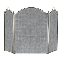 Uniflame - Large Three Panel Satin Pewter Folding Firepl - This folding fireplace screen allows for a three dimensional look.  It offers a simple yet elegant style for your fireplace and hearth.  This screen keeps flying embers from damaging your floors.  Say farewell to  ordinary and add an extraordinary look to your fireplace.  It offers traditional style with its pure uncluttered lines. * Stylish Screen is Functional and Attractive. Maintains Fireplace Safety. Allows For Ease and Comfort with Fireplace Maintenance. 52 in. W x 34 in. H