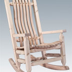 Montana Woodworks - Solid Wood Rocking Chair - Built with the sturdiest construction methods. Sprayed with three coats of premium grade, clear lacquer. Handcrafted. Timbers and trim pieces. Sawn square for rustic timber frame design. Heirloom quality. Durable build, fit and finish. Solid lodge pole pine legs and trim. Ready to finish. Made in USA. No assembly required. 27 in. W x 33 in. D x 44 in. H (35 lbs.). Ready to Finish. WarrantyThe artisans rough saw all the timbers and accessory trim pieces for a look uniquely reminiscent of the timber framed homes once found on the American frontier. This cozy lodge pole pine rocking chair will ease your worries away with its gentle back and forth rocking motion. You will be pleased with the lasting artistry and quality materials of this chair; your granddaughter can rock her child to sleep much as you rocked her mother years before!