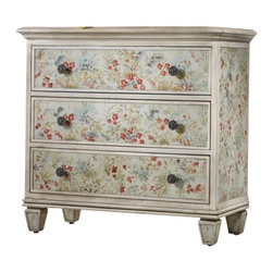 Hooker Furniture - Flowered Chest - Bring a mountain meadow of spring wildflowers into your home. The flowered wood chest is a hand-painted glass bouquet dresser full of color and cheer!