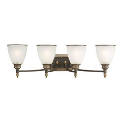 Seagull - Seagull Laurel Leaf - Estate Bronze Bathroom Lighting Fixture in Estate Bronze - Shown in picture: 44352-708 Four-Light Wall / Bath in Estate Bronze finish with Etched Ripple Glass