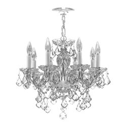 "The Gallery - New! Crystal Chandelier Murano Chandeliers Lighting Venetian Style 18"" x 16"" - THIS MAGNIFICENT CHANDELIER IS DRESSED WITH 100% CRYSTAL. Nothing is quite as elegant as the fine crystal chandeliers that gave sparkle to brilliant evenings at palaces and manor houses across Europe. This beautiful chandelier is decorated with 100% crystal that capture and reflect the light of the candle bulbs, each resting in a scalloped bobache. The crystal glass arms of this wonderful chandelier give it a look of timeless elegance that is sure to lend a special atmosphere in any home.Assembly Required.     Size:W 18"" H 16""     Finish:Silver Finish     Lights:8 Lights"