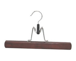 Proman - Trouser/skirt Hanger, Mahogany Finish - Trouser/Skirt Hanger, Mahogany finish, solid wood with felt inside. 30pcs /case. Solid wood with felt inside. Perfect for trousers or skirts.