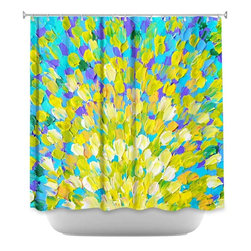 DiaNoche Designs - Shower Curtain Artistic - Splash II - DiaNoche Designs works with artists from around the world to bring unique, artistic products to decorate all aspects of your home.  Our designer Shower Curtains will be the talk of every guest to visit your bathroom!  Our Shower Curtains have Sewn reinforced holes for curtain rings, Shower Curtain Rings Not Included.  Dye Sublimation printing adheres the ink to the material for long life and durability. Machine Wash upon arrival for maximum softness. Made in USA.  Shower Curtain Rings Not Included.