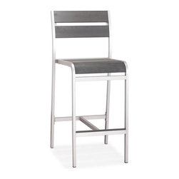 Zuo Modern - Bar Chair in Brushed Aluminum - Sturdy construction. Slatted faux wood seat and back. Warranty: One year limited. Made from brushed aluminum. Assembly required. Seat: 16.9 in. W x 17.7 in. D x 29.1 in. H. Overall: 19.3 in. W x 23.2 in. D x 44.1 in. H (13.2 lbs.)