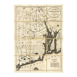 Folded Map: Rhode Island - Framed - Broad lines of wear in the places where this map would have been folded when the printing was crisp and new give the impression that the print is a family heirloom or historical prize. Beautifully presented in a wide frame of molded dark wood, this dramatic piece of wall art is a traditional alternative to the representative painting in the high-class study or aristocratic home.