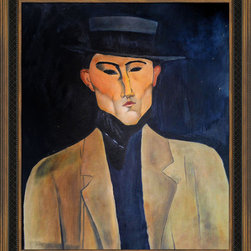 """overstockArt.com - Modigliani - Portrait of a Man with Hat (Jose Pacheco ) Oil Painting - 20"""" x 24"""" Oil Painting On Canvas Hand painted oil reproduction of a famous Modigliani painting, Portrait of a Man with Hat (Jose Pacheco). The original masterpiece was created in 1915. Today it has been carefully recreated detail-by-detail, color-by-color to near perfection. Why settle for a print when you can add sophistication to your rooms with a beautiful fine gallery reproduction oil painting? Amedeo Clemente Modigliani (1884 - 1920) was an Italian painter and sculptor who worked mainly in France. Primarily a figurative artist, he became known for paintings and sculptures in a modern style, characterized by mask-like faces and elongation of form. The bohemian painter's works form a bridge between the generation of Toulouse-Lautrec and the Art Deco painters of the 1920s. The classically simple, flat forms, elongated proportions and delicate stylization combine influences from African sculpture to Botticelli style. Why not grace your home with this reproduced masterpiece? It is sure to bring many admirers!"""