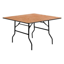 """Flash Furniture - 48"""" Square Wood Folding Banquet Table - This wood folding table is very useful since it can be instantly stored and is easy to carry at the same time. This durable table was built for constant use in hotels, banquet rooms, training rooms and seminar settings. Not only is this table durable enough for the everyday rigors of commercial use this table can be used in the home when it comes to setting up your own personal party plans."""