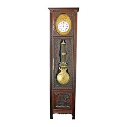 EuroLux Home - Consigned Antique Chestnut Longcase Grandfather Clock - Product Details