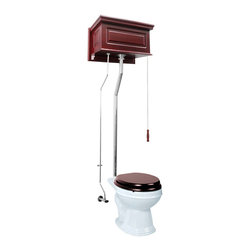Renovators Supply - High Tank Toilets White Cherry Fin Raised Tank Rnd Toilet L-pipe - High Tank Toilets L-pipe: Cherry finish, raised panel, round bowl. Water-saving 1.6 GPF. One time flush, quiet & efficient, gravity-activated, SIPHONIC-ACTION washdown. Our  finish protects every Grade A Vitreous china bowl from common household stains. Ergonomically designed for comfort our  bowls ease the daily strains placed on our bodies. Ready to install, includes: hardwood tank & plastic liner, stainless steel tubing with Chrome-plated finish, brass mounting parts, supply line, angle stop & bowl. Toilet seat sold separately. Adjustable overall height 70 in. to 74 in. & rough-in 12 in. to 15 in.