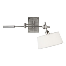 Robert Abbey - Rico Espinet Miles Wall Sconce - Such refinement is rare in wall lamps, but this elegant swing arm wall sconce light is exceptional. With an industrial-chic look you'll adore, this linen-shaded light will add a modern metal aesthetic to your home.