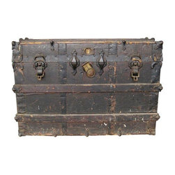 Used Antique Steamer Trunk - This gorgeous trunk has so many stories to tell! It's clearly been around the world a few times, but has a lot of life left.     The interior tray is missing and the leather handles are missing. There are 3 very small wheels on the bottom (1 is missing) but this does not effect the integrity of the trunk. Depending upon your needs, you could either replace one or take the other 3 off pretty easily.    The interior is in excellent condition with  a pouch in the top of the lid. This trunk would sell for far more if there were maker's marks. It's a steal for an amazing piece rich in history.