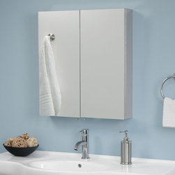 Euclid Stainless Steel Double Door Medicine Cabinet with Mirror - Clean design and contemporary style make the Euclid Medicine Cabinet a great addition to any bathroom. Its two mirrored doors open to reveal multiple stainless steel shelving nooks, perfect for keeping toiletries and bathroom necessities organized and accessible.