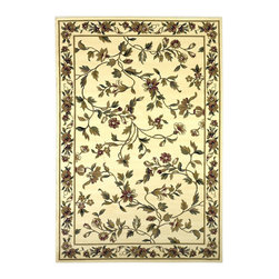 Cambridge 7331 Ivory Floral Vine Rug - Our Cambridge Series is machine-woven in China of heat-set polypropelene. This line features a current color palette in classic and transitional patterns providing a well-designed and durable rug at a very affordable price point. No fringe.