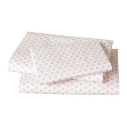 "DwellStudio - Floral Dot Pale Rose Twin Sheet Set - Features: -Set includes a flat sheet, fitted sheet and two standard pillow cases. -Material: Cotton. -250 thread count. Specifications: -Flat sheet dimensions: 66"" H x 96"" W. -Fitted sheet dimensions: 40"" H x 77"" W."