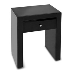 Kathy Kuo Home - Bridgette Hollywood Regency Black Glass Side Table Nightstand - Minimalist design brings maximum style to your bedroom in this luxurious, linear nightstand. One gliding drawer holds small essentials behind polished black glass. This eclectic element doubles as a side table in your modern living room.