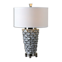 Uttermost - Uttermost Petalo Pearl Gray Table Lamp 26769-1 - Delicate ceramic petals finished in a light pearl gray accented with polished nickel details. The round hardback drum shade is a white linen fabric.
