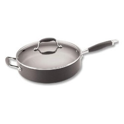 """Anolon - Anolon Advanced - 12"""" / 5 Qt. Covered Saute w/HH - Anolon Advanced - 12"""" / 5 Qt. Covered Sauté w/Helper Handle - 81887    Extremely versatile pans - no kitchen should be without one! Used for sautéing meats and vegetables, frying chicken, pancakes, eggs, grilling sandwiches. Deep sides give extra capacity so that you can braise, stew, deglaze, or add additional ingredients aafter browning for recipes such as chicken and rice or paella."""