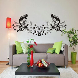 ColorfulHall Co., LTD - Butterfly Wall Decals Diy Two Butterfly Large Floral Family Kids Wall Decals - Butterfly Wall Decals DIY Two Butterfly Large Floral Family Kids Wall Decals