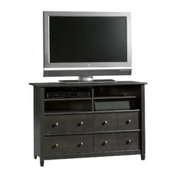 "Sauder - ""Sauder Edge Water Highboy TV Stand, Estate Black"" - ""Purposely taller than a standard TV stand the highboy fits perfectly in the bedroom for ease of viewing while lounging. Edge Water creates a relaxed oasis within any room, built to hold up to four audio/video components while storing what you prefer hidden by using the drawers. The Estate Black finish has a warm brown undertone which allows it to harmonize with most colors and decor.Dimensions (W x L x H): 17.5"""" x 44.63"""" x 30.88""""Holds TVs weighing 70 pounds or less, base must be no larger than 44.50 InchTwo adjustable shelvesFour drawers with metal runners and safety stopsPatented T-lock assemblyAssembled measurements are 44.625 Inch wide by 17.50 Inch deep by 30.875 Inch tall; limited 5-year manufacturer warranty"""