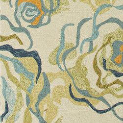 Jaipur Rugs - Floral Pattern Blue Indoor/ Outdoor Rug - CO09, 2.6x8 - Bring visual pop to outdoor living with the Colours I-O Collection. This energetic range of stripe, zigzag and stair-step designs bring together a myriad of multicolor palettes all in durable, hand-hooked polypropylene construction. With its fashion-forward styles and bold scale, each design can function in a broad range of contemporary and transitional spaces both indoor and out.