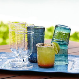 Rope Outdoor Drinkware, Colored, Set of 4 - Mixed glassware with rope detailing in various tones of blue and complementary amber are that final detail for a beautifully set summer soiree table.