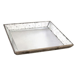 Large Roberto Glass Tray - My friend uses two of these mirrored trays on the center of her kitchen island filled with blue and white vases and pots.