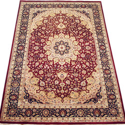 "ALRUG - Handmade Red Persian Kirman Rug 6' x 8' 11"" (ft) - This Pakistani Kirman design rug is hand-knotted with Wool on Cotton."