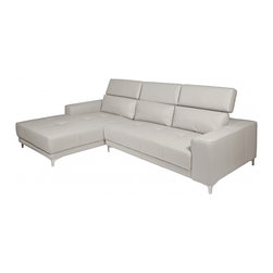 White Line Imports - Michelle Gray Leather Sectional Sofa with Left Chaise - Features: