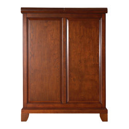 "Crosley - Newport Expandable Bar Cabinet - Constructed of solid hardwood and wood veneers, this Expandable Bar Cabinet is designed for longevity. The beautiful raised panel doors provide the ultimate in style to dress up your home. The doors open and top folds out to double the size of your entertaining / serving area. Inside the doors, you will find plentiful storage space for spirits, glassware, and a host of other bar items. The center cabinet features 16 bottle wine storage, utility drawer, hanging stemware storage, and extra space for a variety of other barware. Expands to 62 1/2"" Wide when Open, Solid Hardwood & Veneer Construction, Hand Rubbed, Multi-Step Finish, Beautiful Raised Panel Doors, Brushed Nickel Hardware, Plenty of Room for Storing Barware & Spirits, Doubles as a Serving Station when Entertaining, Adjustable Levelers in Legs, Solid Hardwood & Veneers*Free Shipping on orders over $100.00 to the 48 contiguous United States. Orders to Alaska, Hawaii, and all other countries, need to have the shipping calculated and the cost added to the order. Contact us at bentleymarketing@cox.net, for the additional fee."