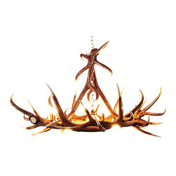 Muskoka Lifestyle Products - Rustic Elk 6 Antler Chandelier- with 6 Candle Lights and 3 Down Lights - Our Rustic Elk 6 Antler Chandelier is the best faux antler chandelier available on the market. We have taken our replication process from our other rustic decor items and matched the authentic finish. Real antlers are used to model the reproduction for an exact and comparable result. The process to create the antler chandeliers uses a time proven, cast resin system to ensure perfection in every piece. We have hand-stained and antiqued each antler to achieve the exact comparable match to the real antler. Bring the perfect rustic decor to your home, cabin, or office with these antler chandelier reproductions. Our reproduction antler chandeliers are perfect for entry ways, pool tables, dining room tables, living rooms, offices, or anywhere create the perfect, natural look. All antler chandeliers are UL listed to ensure absolute safety, quality, and US building code parameters are met.