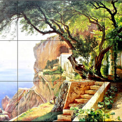 The Tile Mural Store (USA) - Tile Mural - Pergola In Amalfi - Kitchen Backsplash Ideas - This beautiful artwork by Carl Frederic Aagaard has been digitally reproduced for tiles and depicts the Pergola In Amalfi.Danish artist Carl Frederik Aagaard (1833 to 1895) was one of the most influential landscape oil painters of Copenhagen's Golden Age. Aagaard's work was so revered, he was asked to paint King Christian IV's chapel. Initially a student of drawing at the Danish Royal Academy, he was taught by many of the country's renowned artists, and was strongly influenced by landscape oil painter Peter Kristian Skoovgaard.   Our kitchen tile murals are perfect to use as part of your kitchen backsplash tile project. Add interest to your kitchen backsplash wall with a decorative tile mural. If you are remodeling your kitchen or building a new home, install a tile mural above your stove top or install a tile mural above your sink. Adding a decorative tile mural to your backsplash is a wonderful idea and will liven up the space behind your cooktop or sink.