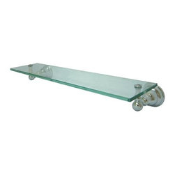 """Kingston Brass - Glass Shelf - Kingston Brass' bathroom accessories are built for long-lasting durability and reliability. They are designed so you can easily coordinate matching pieces. Each piece is part of a collection that includes everything you need to complete your bathroom decor. All mounting hardware is included and installation is easy.; 2-1/2"""" diameter bases; 20-1/2"""" total length; Premium finish; Easy installation; All mounting hardware included; Material: Brass/Glass; Finish: Chrome; Collection: Royale"""