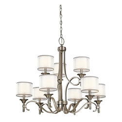 KICHLER - KICHLER 42382AP Lacey Transitional Chandelier - This 9 light, 2 tier chandelier from the Lacey Collection offers a beautiful contrast, melding the charm of Olde World style with clean modern-day materials. It starts with our Antique Pewter Finish and bold, unadorned rounded-arm styling. It finishes with avant-garde double shades made of decorative mesh screens and Opal inner glass.