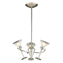 ELK Lighting - ELK Lighting 3655/3  Three Light Chandelier from the Martini Glass Collection - *3 Light Chandelier in Silver Leaf and Acid-Etched Glass
