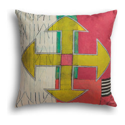 """Carrier Collective - """"Crossroads"""" Decorative Pillow - Crafted of linen/cotton fabrics, Carrier Collective Art Pillows are created from the original Mixed Media and Acrylic Paintings of the artist/owner Angie Carrier."""