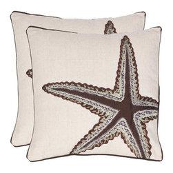 Safavieh - Lucky Star Accent Pillow - Orange,White - Lucky Star Accent Pillow - Orange,White