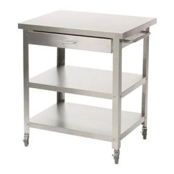 Stainless Steel Kitchen Cart without Top - Add a bit of mad laboratory mixologist style to your parties with this rolling stainless steel bar cart. It has an optional drawer for storing cocktail napkins, bottle openers, coasters and other cocktail needs.
