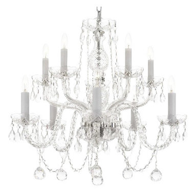 The Gallery - All Crystal chandelier Lighting with 40MM Crystalalls - This magnificent chandelier is dressed with 100% crystal. Nothing is quite as elegant as the fine crystal chandeliers that gave sparkle to brilliant evenings at palaces and manor houses across Europe. This beautiful chandelier is decorated with 100% crystal that captures and reflects the light of the candle bulbs, each resting in a scalloped bob ache. The crystal arms of this wonderful chandelier give it a look of timeless elegance that is sure to lend a special atmosphere in any home.