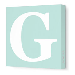 "Avalisa - Letter - Upper Case 'G' Stretched Wall Art, 12"" x 12"", Sea Green - Spell it out loud. These uppercase letters on stretched canvas would look wonderful in a nursery touting your little one's name, but don't stop there; they could work most anywhere in the home you'd like to add some playful text to the walls. Mix and match colors for a truly fun feel or stick to one color for a more uniform look."