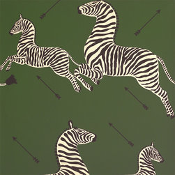 Zebras Wallpaper, Serengeti Green - Definitely a bold choice, this funky, fun wallpaper would be awesome in a small powder room.
