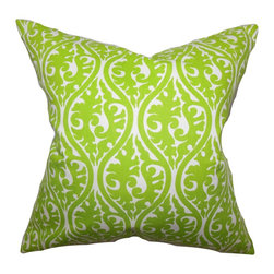 """The Pillow Collection - Mechria Geometric Pillow Chartreuse Green 18"""" x 18"""" - Reinvent your home like a pro by tossing this exquisite accent piece. This throw pillow features a unique geometric pattern in a bright chartreuse green and white color combination. This decor pillow is scene-stealing and will totally make your sofa, bed or couch more inviting. Constructed in the USA, this 18"""" pillow is 100% cotton-made. Hidden zipper closure for easy cover removal.  Knife edge finish on all four sides.  Reversible pillow with the same fabric on the back side.  Spot cleaning suggested."""