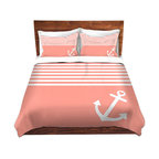 DiaNoche Designs - Duvet Cover Microfiber - Organic Saturation - Coral Love Anchor Nautical, Queen/ - DiaNoche Designs works with artists from around the world to bring unique, artistic products to decorate all aspects of your home.  Super lightweight and extremely soft Premium Microfiber Duvet Cover (only) in sizes Twin, Queen, King.  Shams NOT included.  This duvet is designed to wash upon arrival for maximum softness.   Each duvet starts by looming the fabric and cutting to the size ordered.  The Image is printed and your Duvet Cover is meticulously sewn together with ties in each corner and a hidden zip closure.  All in the USA!!  Poly microfiber top and underside.  Dye Sublimation printing permanently adheres the ink to the material for long life and durability.  Machine Washable cold with light detergent and dry on low.  Product may vary slightly from image.  Shams not included.